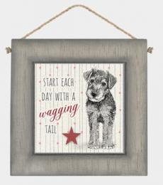 Dog Start each day with a wagging tail wall sign plaque - East of India
