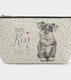 Dog Schnauzer toiletry bag Always kiss and make up East of India