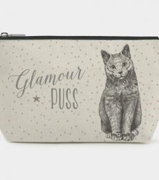 Toiletry bag cat glamour puss East of India Ltd