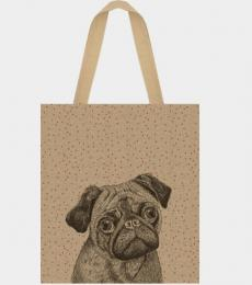 Pug jute shopping bag dog East of india ltd