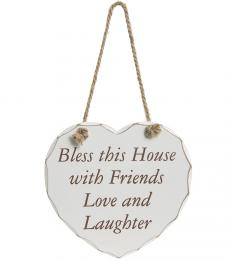 bless this house with friends love and laughter wooden heart plaque lesser and pavey