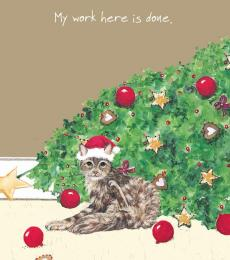 little dog laughed cat fallen christmas card