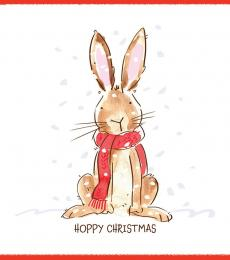 rabbit christmas card