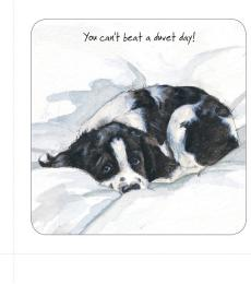 duvet day dog coaster