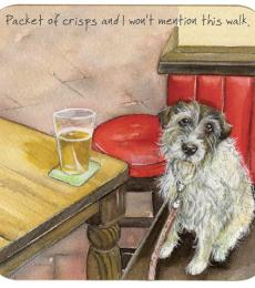 pint dog walk coaster