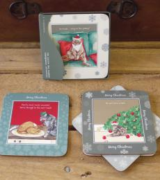 Christmas Cat Coasters Humorous Little Dog Laughed