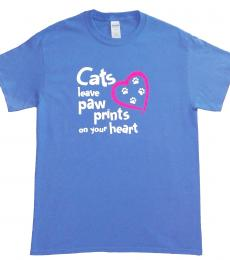 Cats leave paw prints on your heart T-shirt- medium white blue pink