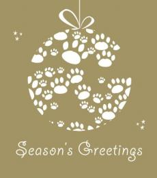National Animal Welfare Trust Christmas Card Cat Christmas Pawbles Paws Baubles