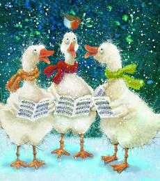 christmas card carol singing geese