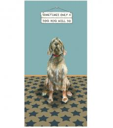 Little dog laughed greeting card dog hug wired haired vizsla