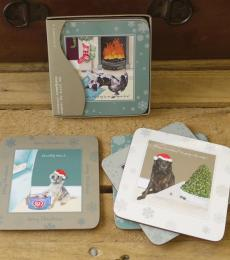 Christmas Dog Coasters Humorous Little Dog Laughed