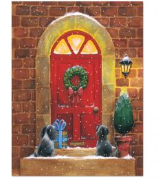 National Animal Welfare Trust cute dogs at front door charity Christmas card