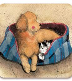 Alex Clark Art Our Bed Dog and Cat Fridge Magnet