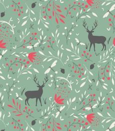 Milkwood Whistlefish Green Reindeer Wrapping Paper