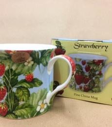 blue strawberry mug
