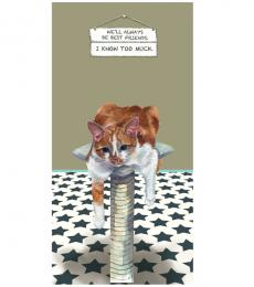 Little Dog Laughed Greeting Card ginger tom cat know too much best friends