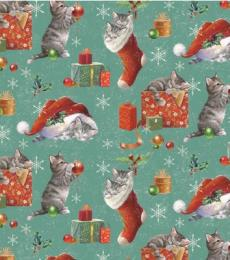 Otterhouse Christmas gift wrapping paper Kittens in Stockings