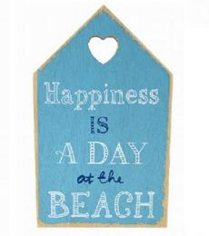 Lesser and Pavey Happiness is a day at the beach wooden hanging plaque