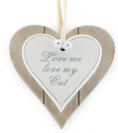 Love me love my cat wooden heart plaque lesser and pavey leonardo collection