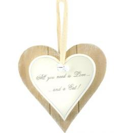 All you need is love and a cat wooden heart plaque lesser and pavey leonardo collection