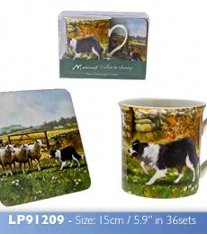 border collie mug coaster