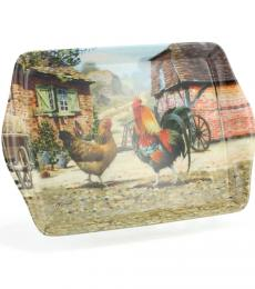 cockerel and hen farm small tray