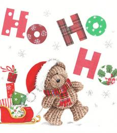 Milkwood Whistlefish Galleries Christmas Card Teddy Bear HoHoHo