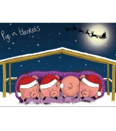 National Animal Welfare Trust Pigs in Blankets Window charity Christmas card