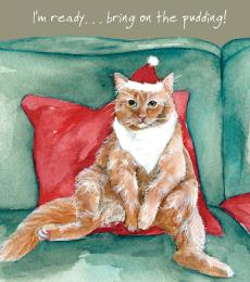 Little Dog Laughed Digs & Manor Christmas Greeting Card Cat Pudding Ready