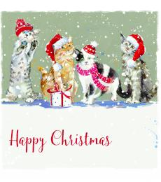 christmas cards cats with hats