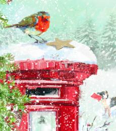 robin on postbox christmas tags ling design