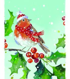 robin with hat christmas tags ling design