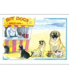 Splimple Alison's Animals greeting card Hot Dogs