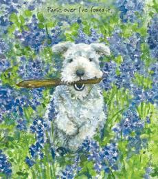 Little Dog Laughed Panic Over Bluebells greeting card