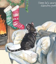 little dog laughed cat asbestos pants christmas card