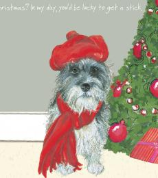 little dog laughed christmas stick card