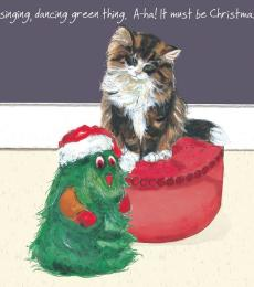 little dog laughed cat green thing christmas card