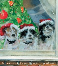 Little Dog Laughed Digs & Manor Christmas Greeting Card Dog Front Door