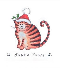 National Animal Welfare Trust Santa Paws Christmas cat greeting card