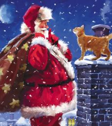 National Animal Welfare Trust Christmas Card Shhh! Father Christmas Ginger Cat