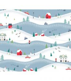 christmas wrapping paper snowy hills whistlefish