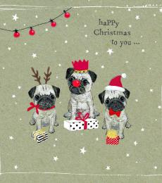 National Animal Welfare Trust Christmas Card Three Wise Pugs