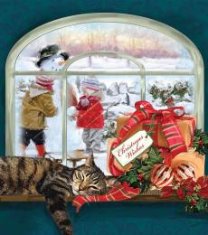 relaxing cat christmas card