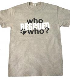 Who rescued who dog cat t shirt medium grey white black