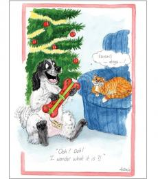 Alison's Animals Splimple Christmas Card I Wonder What It Is Dog Cat
