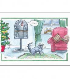 Alison's Animals Splimple Christmas Card Turkey in Hiding from Cat
