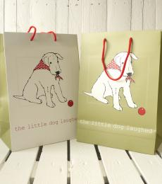 green cream little dog laughed gift bag