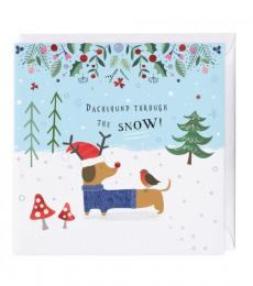 whistlefish dachshund through the snow christmas card