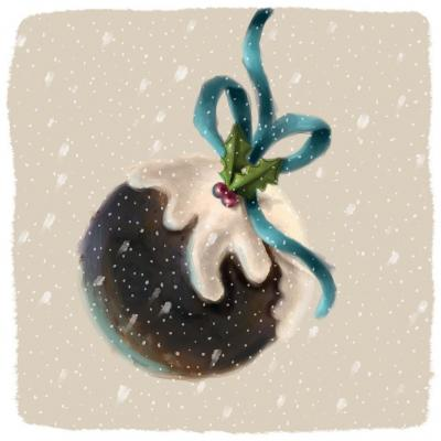 painted pudding christmas card
