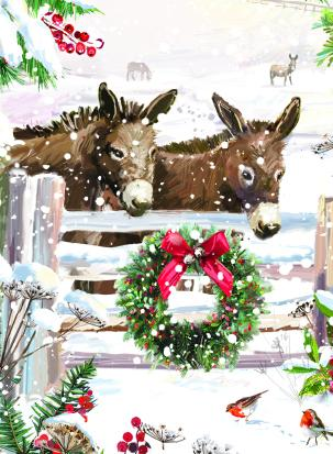 donkeys by gate christmas tags